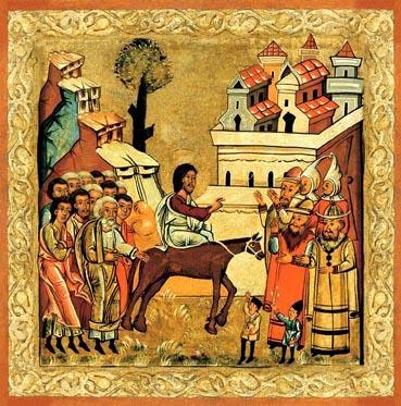 Auf dem Bild ist Jesus. Er reitet auf einem Esel. Die Menschen winken ihm.