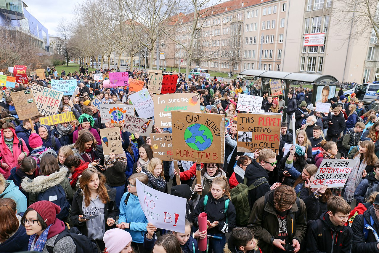 Children marching at a Fridays for Future demo