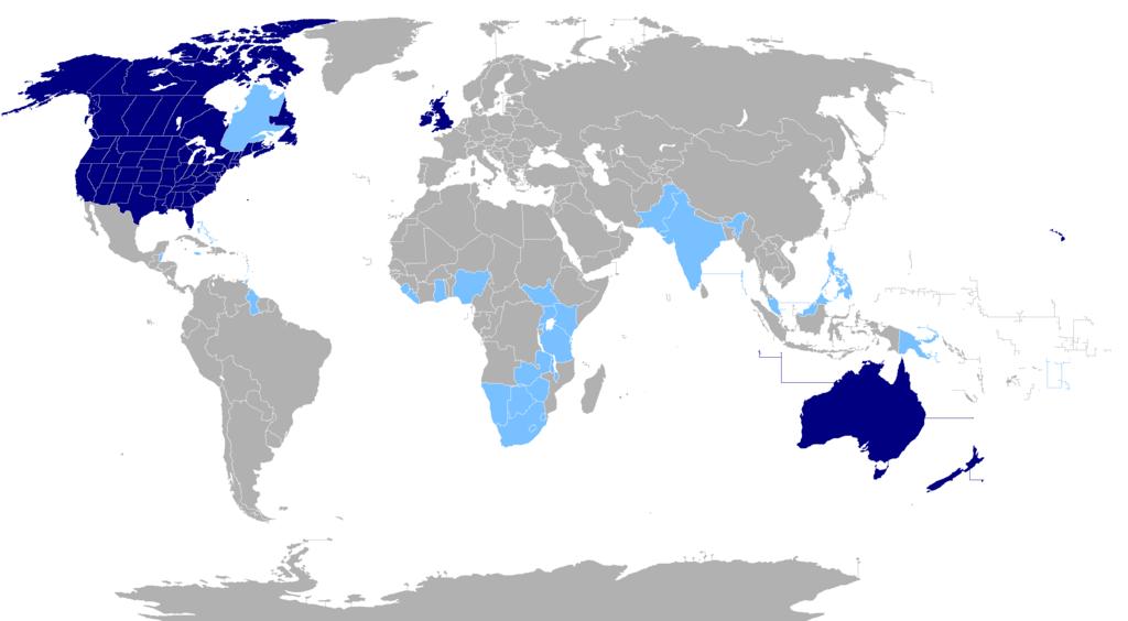 Auf dem Bild ist eine Welt·karte. Dort wo die Menschen Englisch sprechen, ist eine blaue Farbe zu sehen.