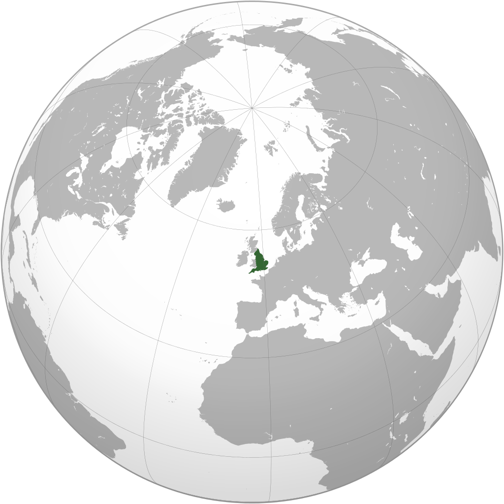 Auf dem Bild ist eine Welt·karte. Das Land England ist grün angemalt.