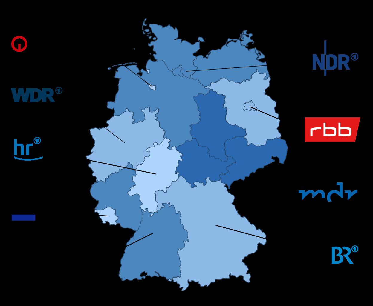 Auf dem Bild sind Rundfunkanstalten auf einer Deutschland·karte zu sehen