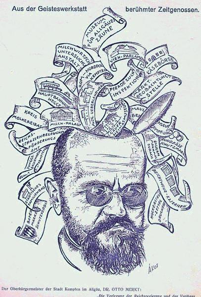 Auf dem Bild ist Otto Merkt zu sehen. Es ist eine Zeichnung von Andor Akos.