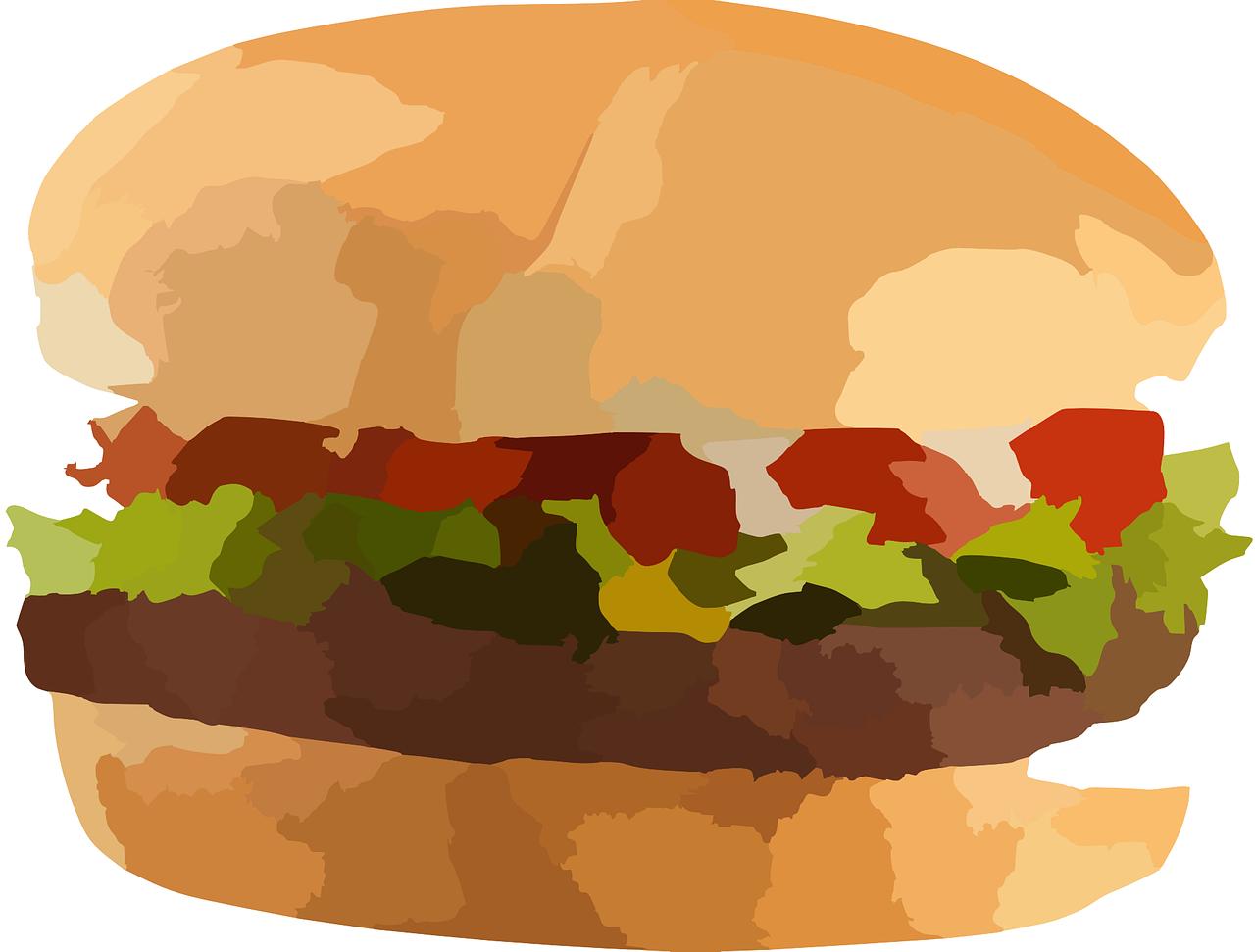 Auf dem Bild ist ein Hamburger zu sehen