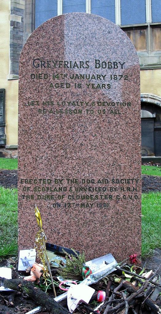 Auf dem Bild ist das Grab von Greyfriars Bobby zu sehen