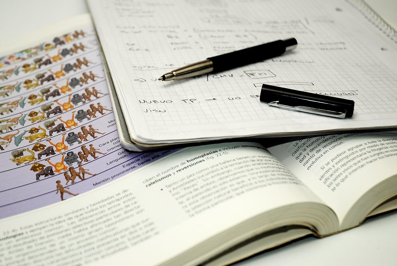 Auf dem Bild ist ein Biologie·buch, ein Text·buch und ein Stift zu sehen