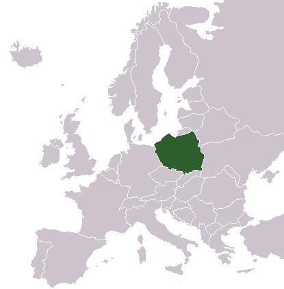 Auf dem Bild ist eine Land·karte. Das Land Polen ist mit der Farbe grün angemalt.