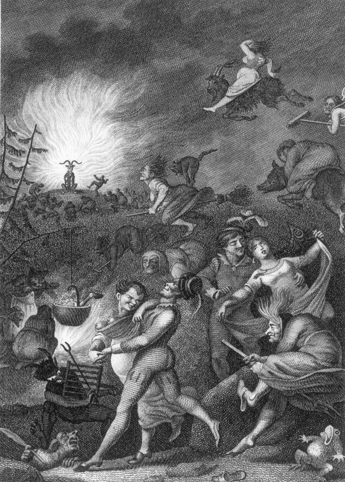 Auf dem Bild ist ein Kupferstich von der Walpurgisnacht zu sehen